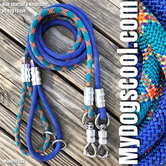Blue Spartan and Kingfisher Climbing Rope Dog Leash with HD Stainless Steel Locking Swivel. Handmade in USA for Large to Extra Large Dogs. Big Dogs, Large Dogs, Rope Dog Leash, Climbing Rope, Dog Safety, Have Metal, Leather Pieces, Kingfisher, Dog Walking