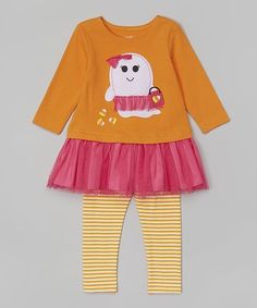 Another great find on #zulily! Orange Ghost Tunic & Leggings Set - Infant, Toddler & Girls #zulilyfinds