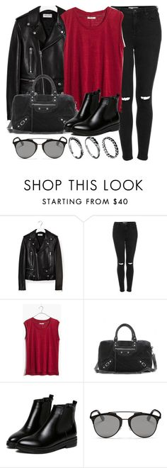 """""""Style #10176"""" by vany-alvarado ❤ liked on Polyvore featuring Yves Saint Laurent, Topshop, Madewell, Balenciaga, WithChic, Christian Dior and DesignSix"""