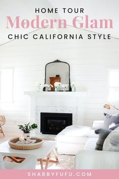 What is glam decor and how can I infuse touches into my own home? Today's modern home decor tour will give you lots of inspiration from glam wall decor to glam living room decor and more! #modernglam #glamdecor #modernfarmhouse #marblekitchen #whitekitchen #openshelving #californiahomes #chiccaliforniahomes #hometours #homedesign #interiordesign