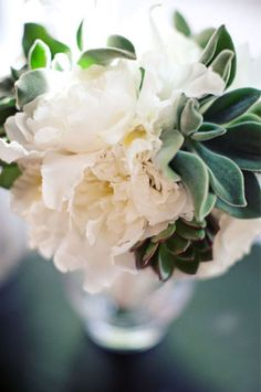 Floral arrangement of white peonies and succulents (link has loads of beautiful ideas for using succulents in your wedding)