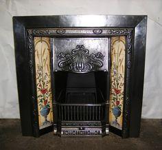 Art Nouveau cast-iron Fireplace with tiles for Sale Cast Iron Fireplace, Fireplace Mantels, Fireplace Tiles, Art Nouveau Tiles, Art Deco, Fireplaces For Sale, Art Nouveau Interior, Mission Style Furniture, Tiles For Sale