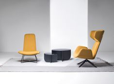 Myplace by Michael Geldmacher for La Cividina is a new concept in the seating world. In an original twist, the seats – which come both with and without armrests – can also be used as headrests tha Sofa Design, Furniture Design, Interior Design, Winged Armchair, Upholstered Furniture, Contemporary Furniture, Floor Chair, Showroom, Upholstery