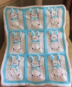 EASTER Bunny Afghan Pattern Blanket PDF Crochet Pattern for
