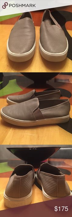 VINCE Blair Perforated Slip On Sneaker Gray 7.5 VINCE Blair Perforated Slip On Sneaker Gray 7.5. Color is called Woodsmoke. Great condition. Lightly worn- only sign is on the bottom sole. Perfect for fall. Vince Shoes Sneakers