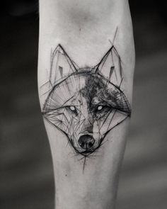 sketch wolf tattoo by @kamilmokot
