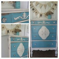 Painted dresser blue and white with crystal knobs www.facebook.com/2nddoorontheright