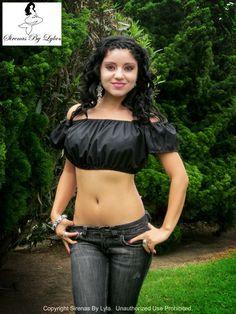9964a73dc14c3e Bella Nera Black Short Sleeve Peasant Crop Top Belly Shirts