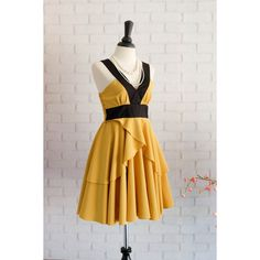 Dark Mustard Dress Retro Vintage Dress Style Mustard Party Dress... ($45) ❤ liked on Polyvore featuring dresses, grey, women's clothing, retro cocktail dresses, sexy prom dresses, prom dresses, sexy short dresses and halter cocktail dress