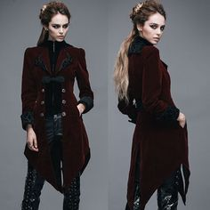 Burgundy Velvet Victorian Gothic Fashion Dress Trench Coat Women SKU-11401035