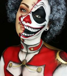 """[ Halloween Makeup : Illustration Description """" Twisted Ringmaster This is my entry to ! ❤❤ Thought I dont get it in time, but yeahhhh, I Makeup Fx, Creepy Makeup, Horror Makeup, Clown Makeup, Costume Makeup, Mehron Makeup, Amazing Halloween Makeup, Halloween Makeup Looks, Halloween Make Up"""