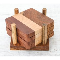 Union Rustic Cool Nature Wood Coaster Set with Holder | Wayfair Scrap Wood Crafts, Diy Wooden Projects, Wood Projects That Sell, Wood Shop Projects, Wooden Diy, Easy Small Wood Projects, Scrap Wood Art, Wood Projects For Beginners, Wood Working For Beginners