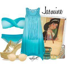 Jasmine - Beach / Summer - Disney's Aladdin by rubytyra on Polyvore featuring Accessorize, Seafolly, Paloma Barceló, Muuñ, ALDO, Panacea, Linda Farrow and Polaroid
