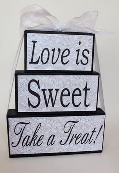Elegant sign purchased for candy station at my wedding. Purchased on etsy for $36.50. Used once and in perfect condition. Beautiful addition to any candy station and will go with any wedding as is black and white. Has gorgeous lace effect on sign.