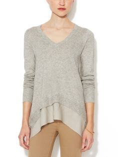Silk-Cashmere V-Neck Sweater with Chiffon Trim from Super-Chic Travel Essentials on Gilt