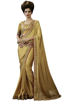 #Golden #Shimmer #Georgette #Saree With #Blouse  #Golden #Shimmer #Georgette #Saree #designed with #Heavy #Zari,#Resham #Embroidery With #Stone Work And #Lace Border.   INR: 3,998.00  With Exclusive Discounts   Grab: http://tinyurl.com/h5sxhc6