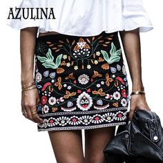 AZULINA Embroidery Skirt Women Cotton Floral High Waist Black Casual Female Short Spring Summer Vintage Mini Ethnic Boho Skirts