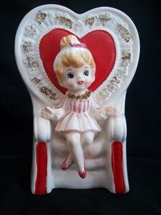 VINTAGE RELPO GIRL VALENTINE PLANTER HEAD VASE QUEEN OF HEARTS