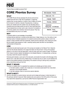 This phonics survey is a diagnostic assessment used by teachers to assess students' knowledge of and ability to use sound / letter correspondences. This tool, which is easy to administer and interpret, can be used to guide instruction and develop instructional goals to meet individual student's learning needs.
