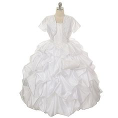 Rain Kids Little Girls 4 White Pick Up Special Occasion Dress  - Click image twice for more info - See a larger selection of little girl special ocassion dresses at http://girlsdressgallery.com/product-category/special-occasion-dresses/- kids, toddler, kids dresses, little girls, dress, gown, little girls fashion, gift ideas, flower girl, wedding, party dress