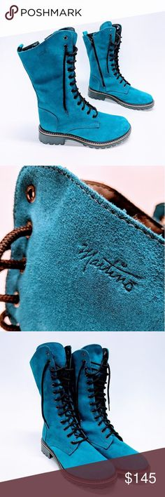 Martino Leather Lace Up Waterproof Boots sz New turquoise Martinos! Waterproof Thermal Insulation Green Oriented Genuine Leather Made in Canada No flaws. Winter Shoes, Winter Rain, Waterproof Boots, Leather And Lace, Converse Chuck Taylor, Rain Boots, High Top Sneakers, Lace Up, Turquoise