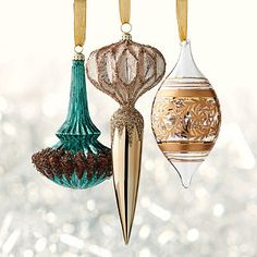 60-pc. Golden Splendor Ornament Collection - Our Golden Splendor 60-piece Ornament Collection trims your tree with regal abandon and without paying a king's ransom. A variety of glass finials and orbs are included in the collection. Pair the ornaments with optional designer ribbon and picks for a coordinated holiday look.