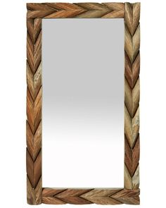 An unusual medium sized rectangular mirror in sustainable mango wood. The chunky frame is made up of interlinking chevrons, making for an attractive combination of bold design and natural materials.