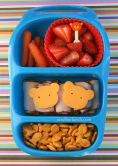 - organic baby carrots and organic strawberries in a jumbo silicone cup  - turkey rolls with cheddar cheese bear heads  - Goldfish crackers