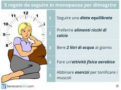In menopausa il corpo della donna inizia a cambiare, l'assetto ormonale si modifica ed il metabolismo non è più quello di un tempo. Morale della favola, ci si ritrova sempre con qualche chilo in più sulla bilancia e i vestiti stretti. Ma non facciamoci prendere dall'ansia e dal disfattismo: dimagrire in menopausa è possibile. Vediamo come fare. Alimentazione corretta, esercizio fisico, bere almeno 2 litri di acqua al giorno, saper gestire lo stress e sfruttare i rimedi che la natura ci offre…