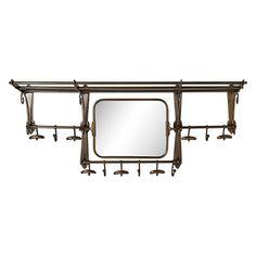"Grand Chester 41"" x 18"" Hook Mirror in Antique Brass"