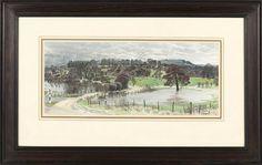 """aquarelle sur papier de Stanley Roy BADMIN (1906-1989) """"Flooded Meadows"""" sbd et daté Feb. 1960. <br>16x37.8 cm  <br> Référence: <br>""""Flooded Meadows"""" was exposed at the exhibition of the Royal Academy of Arts 1960. <br> <br>Paintings    <br>Tableaux - Encadrés"""