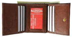 Mens Cowhide Leather ID Card Holder Trifold Wallet with Coin Pouch 2055 CF (C)