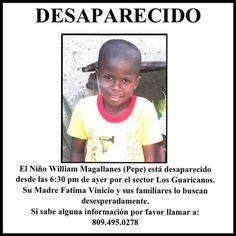 > Niño desaparecido desde ayer Lunes 28 de Septiembre 2015