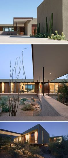 The home has a bridge that leads you to the front door, so that the home would have as little impact on the natural landscape as possible.