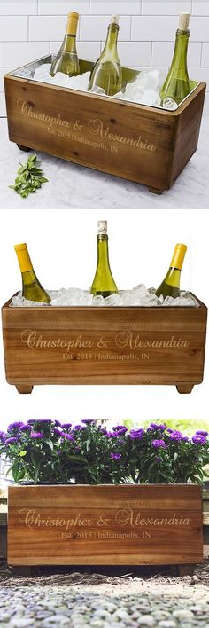 Give the bride and groom a gift they can use during and after their wedding day with this rustic wood wine bottle chilling trough custom printed with the bride and groom's name, wedding date, city and state. Perfect for a rustic or country wedding setting, this beautiful wine trough can be used at the head wedding table as a decorative centerpiece. This wine trough can be ordered at http://myweddingreceptionideas.com/personalized-rustic-wood-wine-trough-wedding-gift.asp