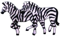 """Amazon.com: [Single Count] Custom and Unique (3 1/4"""" by 2"""" Inches) Animals Roaming In The Wild African Safari Zebras Iron On Embroidered Applique Patch {Black and White Colors}"""