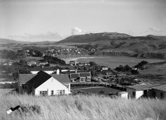 Overlooking Titahi Bay, in Photograph taken by Sydney Charles Smith. Quantity: 1 b&w original negative(s). New Zealand, Cabin, The Originals, House Styles, Cottage, Wooden Houses, Cabins