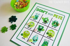 Don't Eat Pete is a classic game my family has played for years and it's been around for forever! In fact, when I was a tween, I would tak. School Holidays, Winter Holidays, Activity Day Girls, Activity Days, March Crafts, Gift Bows, Spring Activities, Valentines Day Party, St Patricks Day