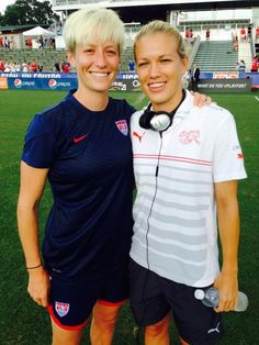 Megan Rapinoe and Swiss star Lara Dickenmann, former teammates at Olympique Lyon. (U.S. Soccer/Twitter)