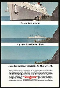 Ocean Liner to Orient Staterooms American President Line Photo 1963 Cruise Ship Ad