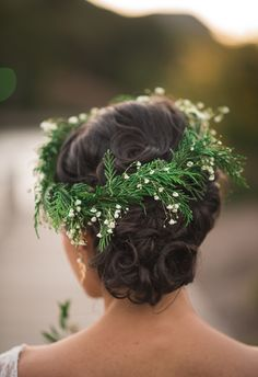 Greenery, evergreen bough, flower crown // Frantz Photography