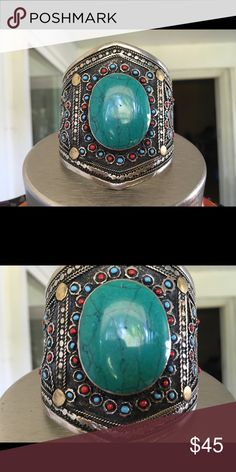 NWOT Tribal Afghan hand crafted Cuff NWOT handcrafted Afghan cuff . Jewelry Bracelets