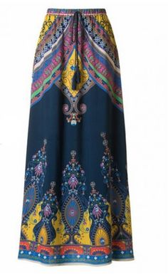 """Womens modest aline maxi skirt with baroque print and banded waist. This skirt is 40-42"""" long. 100% Rayon"""
