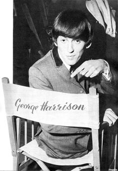 "I like this one because it fits so well with this picture of John in the same pose. George backstage at the Scala Theatre during the filming of A Hard Day's Night, 1964.  Scanned from ""The Beatles Film"" souvenir magazine (1964)."