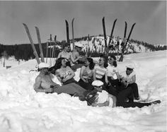 Sunbathing skiers sipping Coca-Cola at the Donner Summit area, 1949.