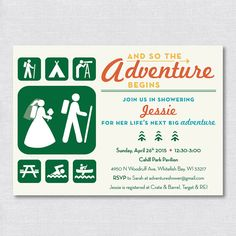 And So The Adventure Begins!  Non traditional bridal shower for your adventurous and outdoorsy bride & groom.