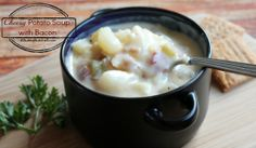 Cheesy Potato Soup with Bacon (Slow Cooker Recipe) | ANutinaNutshell.com #souprecipes #slowcooker #bacon