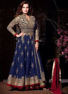 Flashy Nevy Blue and Maroon Designer Salwar Kameez. You feel ethnic when you adorn this beautifully designed Salwar Kameez with Resham work. As shown as bottom and dupatta come with. #weddingsuits, #wholesalesuppliers, #bollywoodsalwarsuit, #DiaMirza
