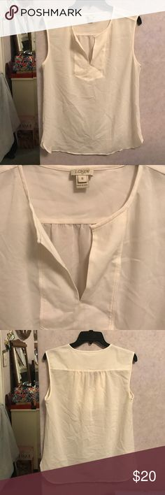JCrew White Blouse Cute and easy to layer. JCrew Blouse only worn a few times. Size 8. 100% polyester. J. Crew Tops Blouses