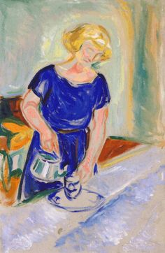 Edvard Munch - Woman in a Blue Dress Pouring Coffee,1924/26